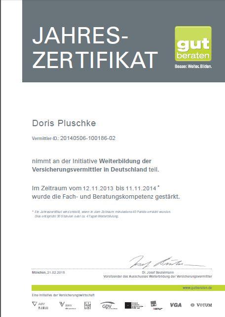 Zertifizierung – Augusta Maklerbüro Pluschke